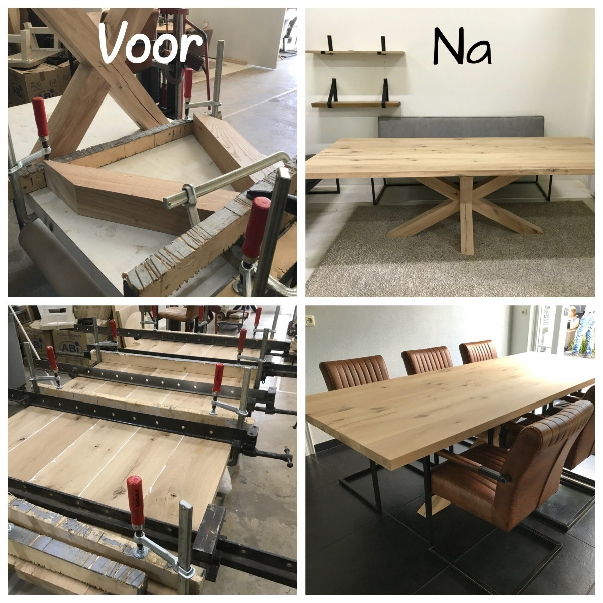 Massief eiken salontafel
